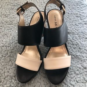 Anne Klein Black and White Sandal Pumps 7.5
